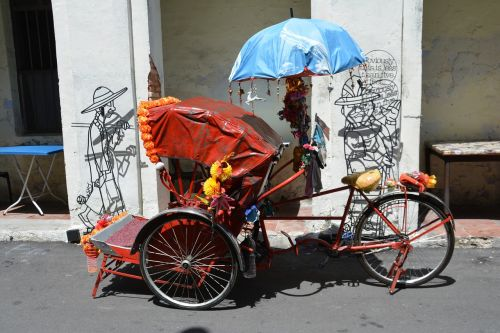 rickshaw three wheeled passenger bike sunny