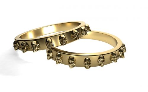 rings gold skull and crossbones