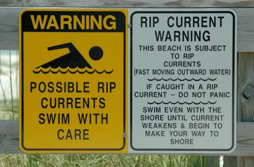 Rip Tide Warning Sign