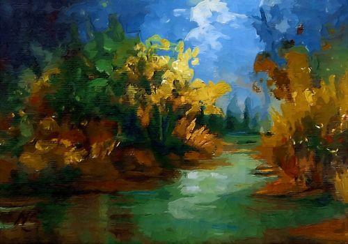 upė,dalis,žalias,kraštovaizdis,dažymas,kraštovaizdis,miškas,Punch
