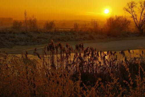 river winter sunset