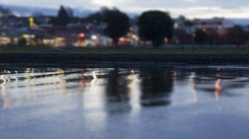 river tilt shift photography