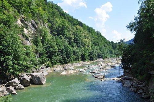 river  the carpathians  mountains