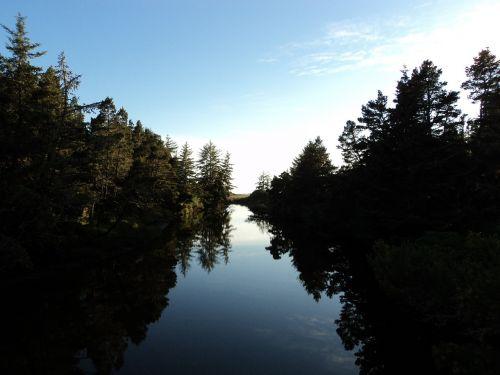 river mirror sunset