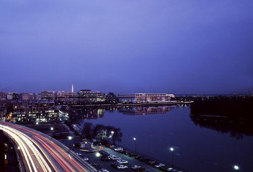 river dusk cityscape