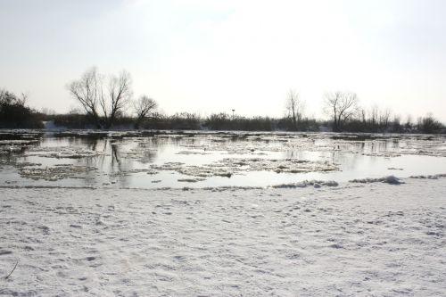 river frozen river white
