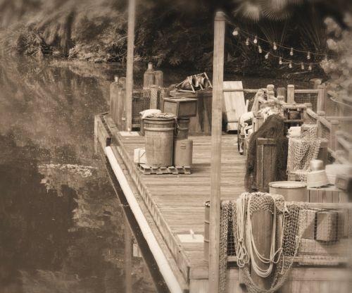river dock trading port vintage