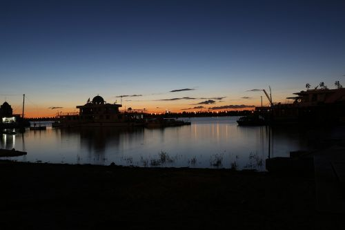 riverside night view afterglow