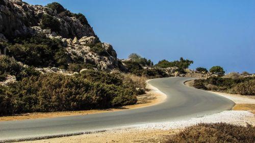 kelias,kreivė,kraštovaizdis,peizažas,cavo greko,Nacionalinis parkas,Kipras