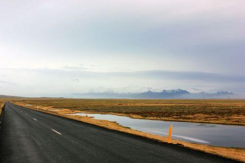 road mountain lake
