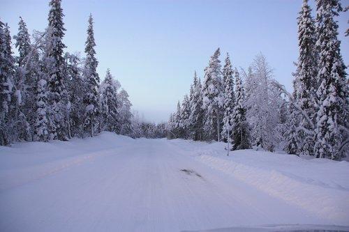 road  snow  lapland