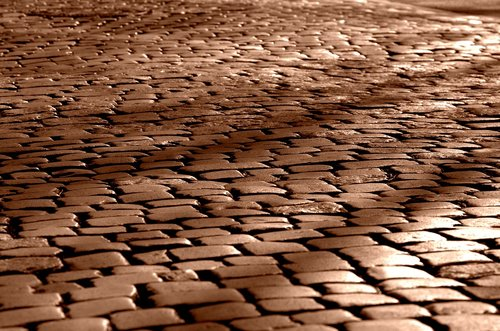 road  paving stones  cobblestones
