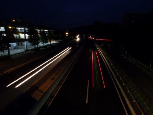 road long exposure spotlight