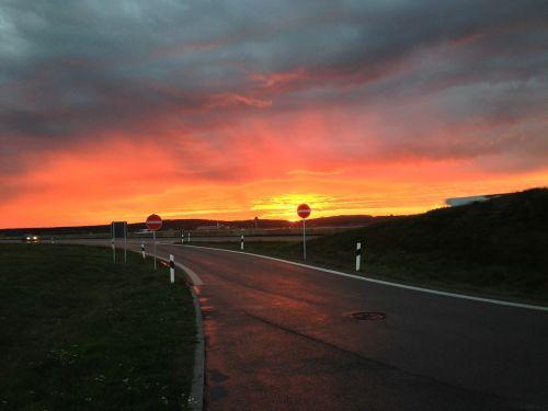 road allgäu sunrise