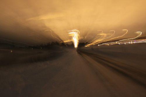 road winter lights