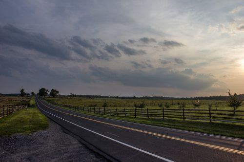 road clouds pasture