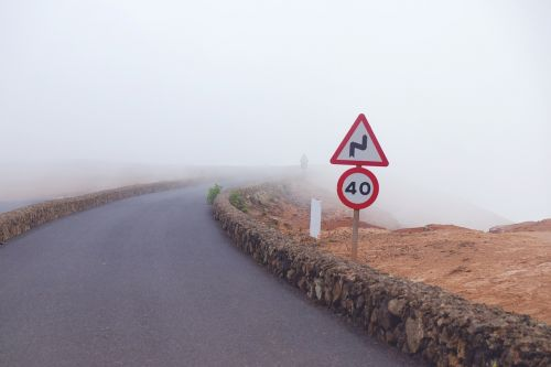 road fog signs