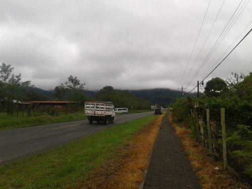 road truck sidewalk