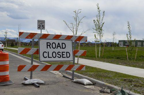 road closed sidewalk closed construction