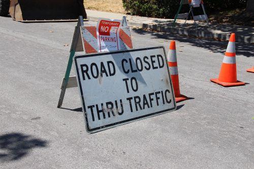 road closed construction detour