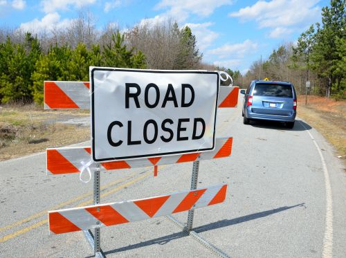road closed sign sign road