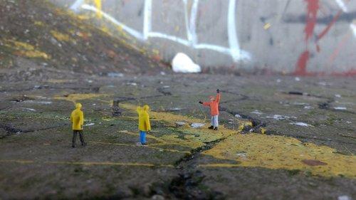 road construction  graffiti  miniature figures