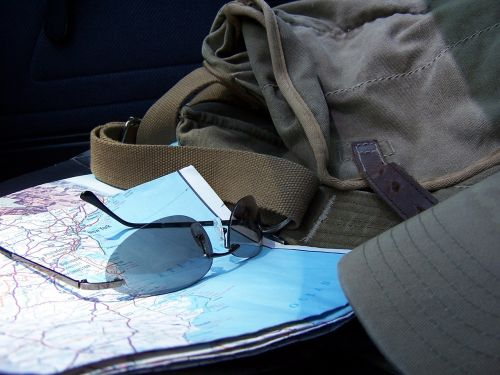 road map sun glasses traveller
