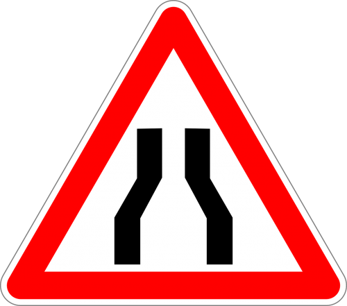 road narrows on both sides traffic sign sign