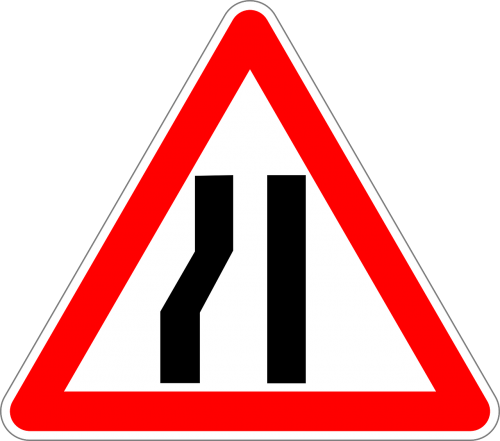 road narrows on left traffic sign sign