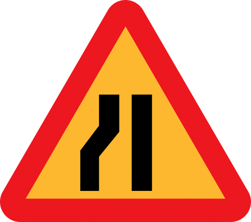 road narrows on left roadsign road sign