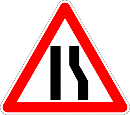 road narrows on right traffic sign sign