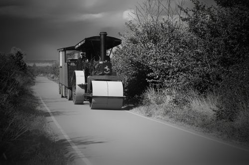 road roller workman's trailer country lane
