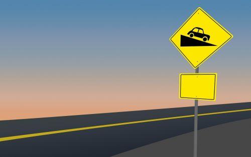 road sign steep hill ahead warning sign