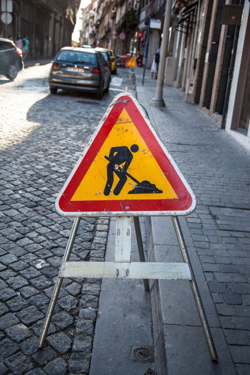 road sign board roadworks