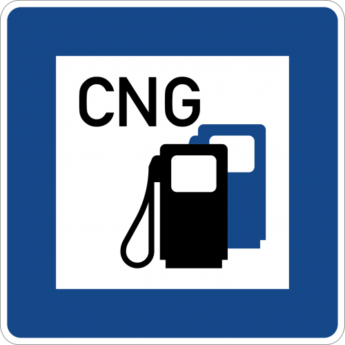 road sign cng gas and service station