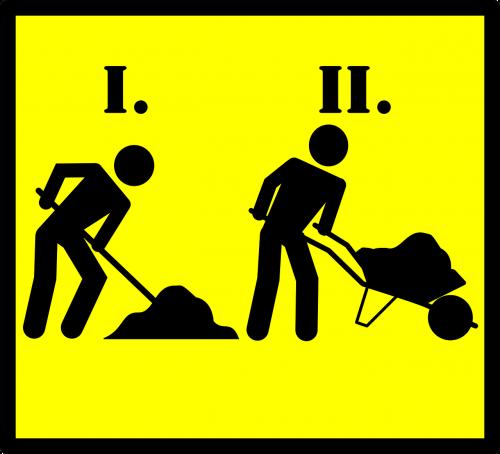 road sign roadsign road work