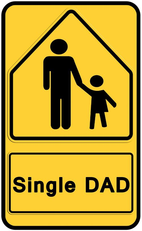 road sign father child