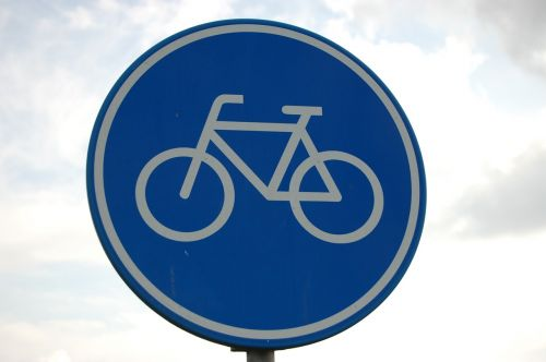 road sign bike path bicycle