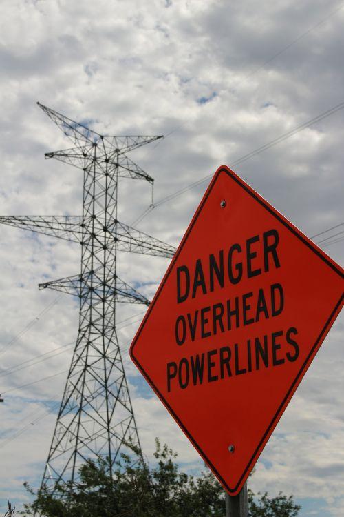 Road Sign Danger Overhead Powerline