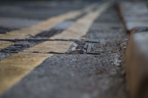 Road Texture With Yellow Strip