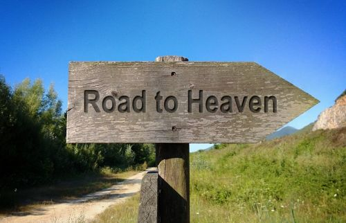 road to heaven wooden sign board way