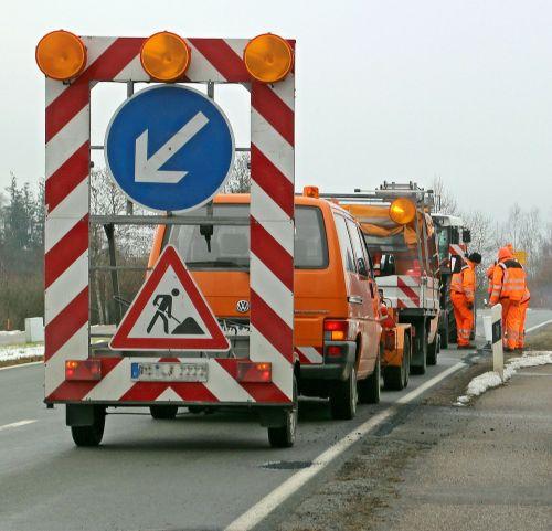 road works barrier warning