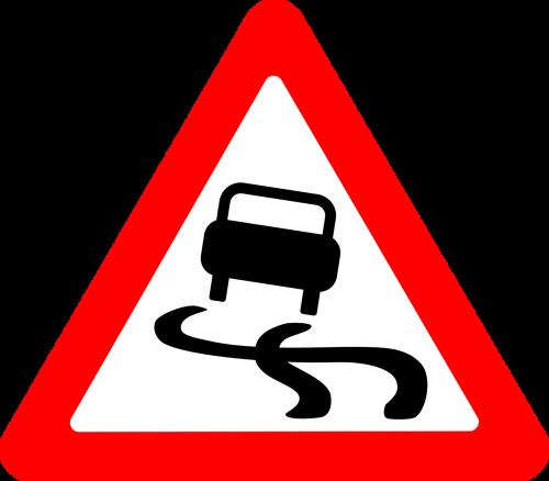 roadsigns slippery cars