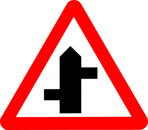 roadsigns staggered intersecting
