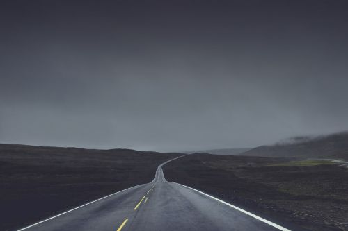 roadway dark foggy