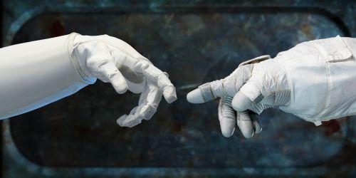 robonauts touching fingers fingers