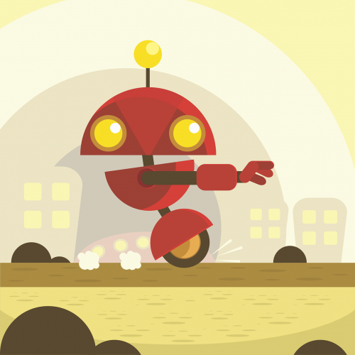 robot,red,future,wheel,antenna,yellow,stopping,free vector graphics