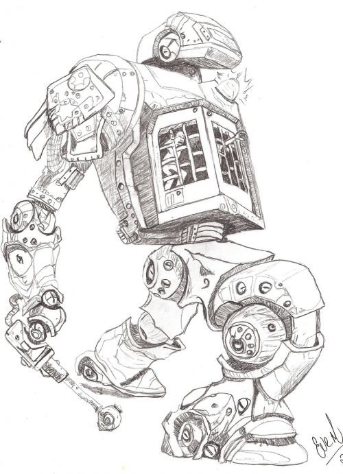 robots pencil drawing