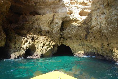 Rokas,urvas,jūra,portugal,algarve,akmuo,vanduo,gamta