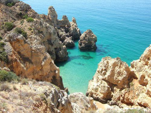 rock algarve sea